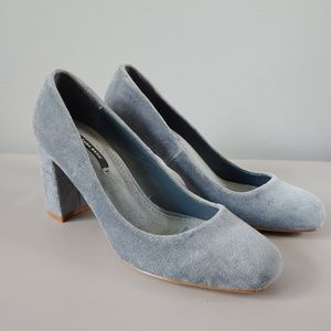 Zara Blue Velvet Velour Block Heels Size 6 Pumps
